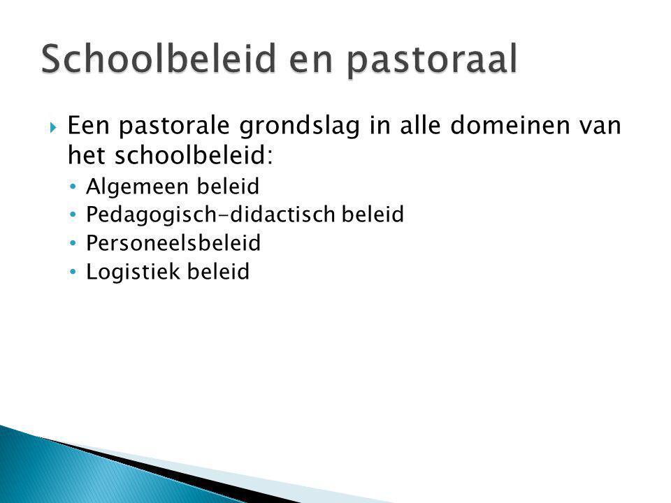  Een pastorale grondslag in alle domeinen van het schoolbeleid: Algemeen beleid Pedagogisch-didactisch beleid Personeelsbeleid Logistiek beleid
