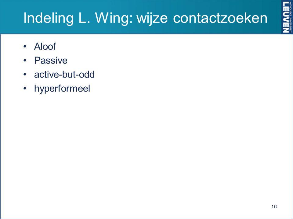 Indeling L. Wing: wijze contactzoeken Aloof Passive active-but-odd hyperformeel 16