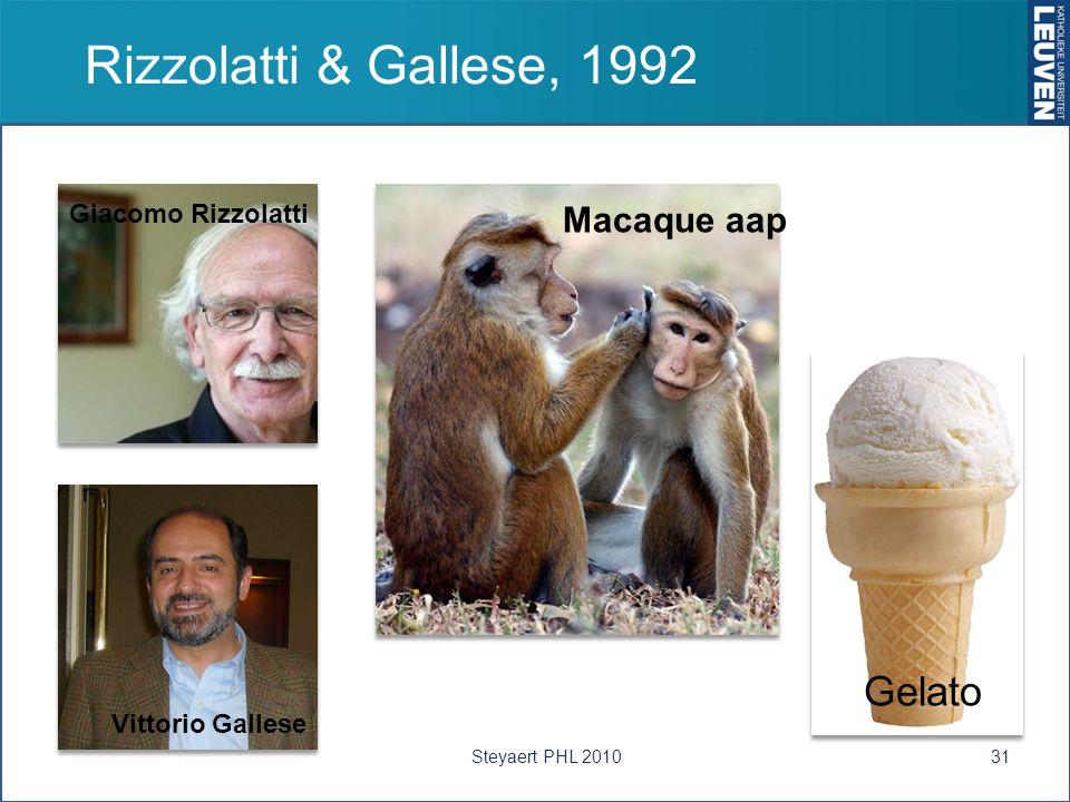 Rizzolatti & Gallese, 1992 Giacomo Rizzolatti Vittorio Gallese Gelato Macaque aap 31Steyaert PHL 2010