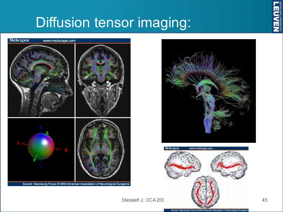 Diffusion tensor imaging: Steyaert J, OCA 200845