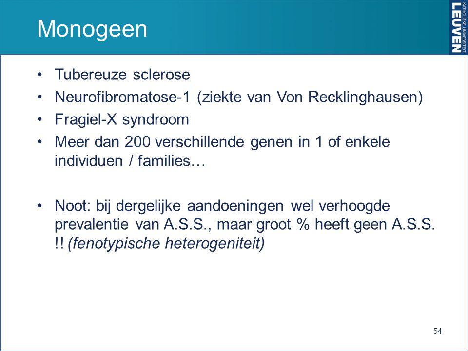 Monogeen Tubereuze sclerose Neurofibromatose-1 (ziekte van Von Recklinghausen) Fragiel-X syndroom Meer dan 200 verschillende genen in 1 of enkele individuen / families… Noot: bij dergelijke aandoeningen wel verhoogde prevalentie van A.S.S., maar groot % heeft geen A.S.S.