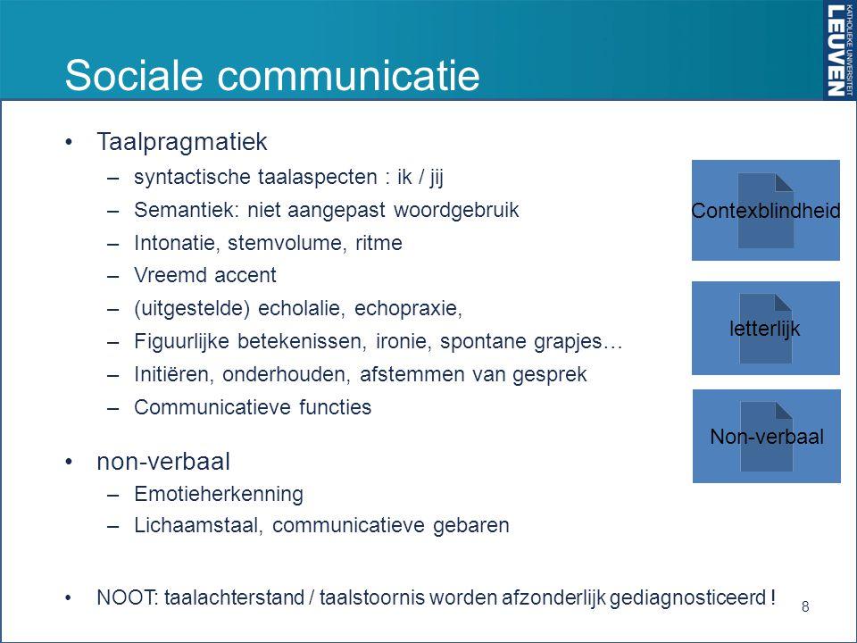 Sociale communicatie Taalpragmatiek –syntactische taalaspecten : ik / jij –Semantiek: niet aangepast woordgebruik –Intonatie, stemvolume, ritme –Vreemd accent –(uitgestelde) echolalie, echopraxie, –Figuurlijke betekenissen, ironie, spontane grapjes… –Initiëren, onderhouden, afstemmen van gesprek –Communicatieve functies non-verbaal –Emotieherkenning –Lichaamstaal, communicatieve gebaren NOOT: taalachterstand / taalstoornis worden afzonderlijk gediagnosticeerd .