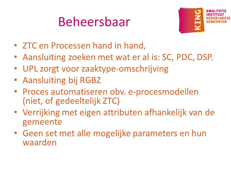 Beheersbaar ZTC en Processen hand in hand, Aansluiting zoeken met wat er al is: SC, PDC, DSP.