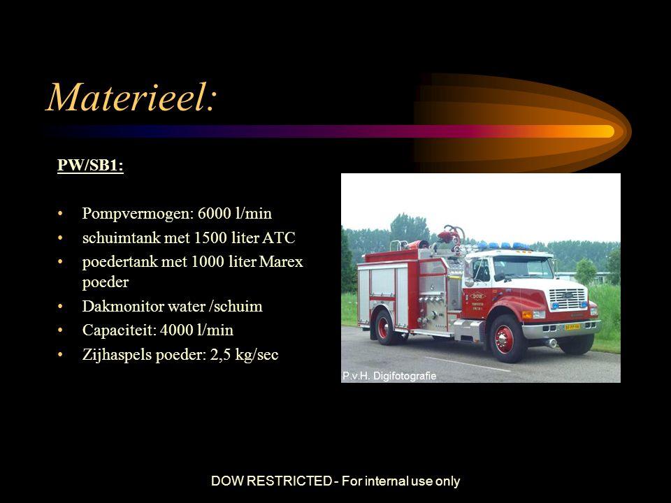 DOW RESTRICTED - For internal use only Materieel : SCHUIMBLUSVOERTUIG SB3 Pompcapaciteit van 10.000 liter/min Schuimtank met 3000 liter ATC (Alcohol Type Concentrate) Watertank van 2000 liter 2 Hoge druk haspels Dakmonitor van 4000 l/min