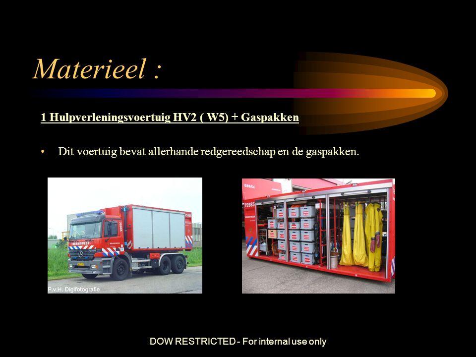 DOW RESTRICTED - For internal use only Materieel : 1 Hulpverleningsvoertuig HV2 ( W5) + Gaspakken Dit voertuig bevat allerhande redgereedschap en de g