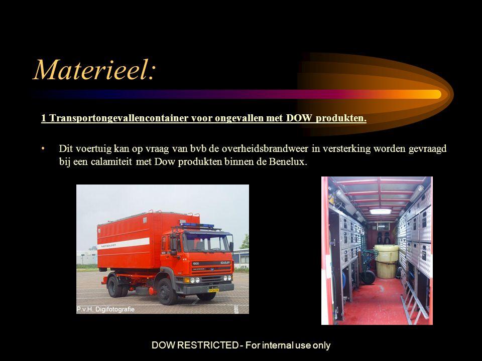 DOW RESTRICTED - For internal use only Materieel: 1 Transportongevallencontainer voor ongevallen met DOW produkten. Dit voertuig kan op vraag van bvb