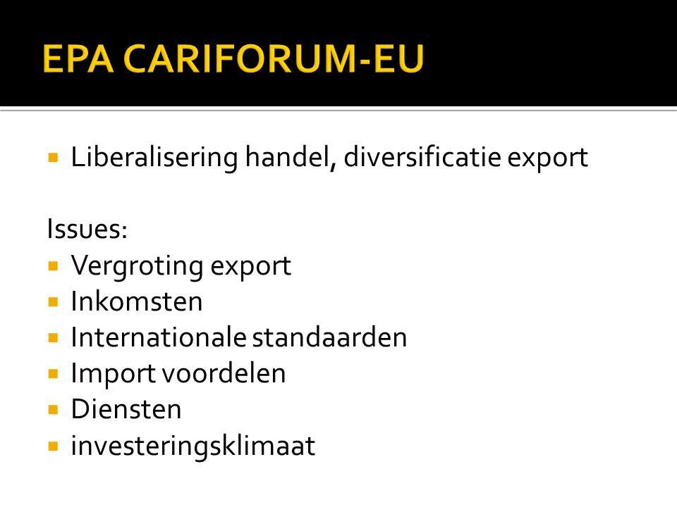 Liberalisering handel, diversificatie export Issues:  Vergroting export  Inkomsten  Internationale standaarden  Import voordelen  Diensten  investeringsklimaat