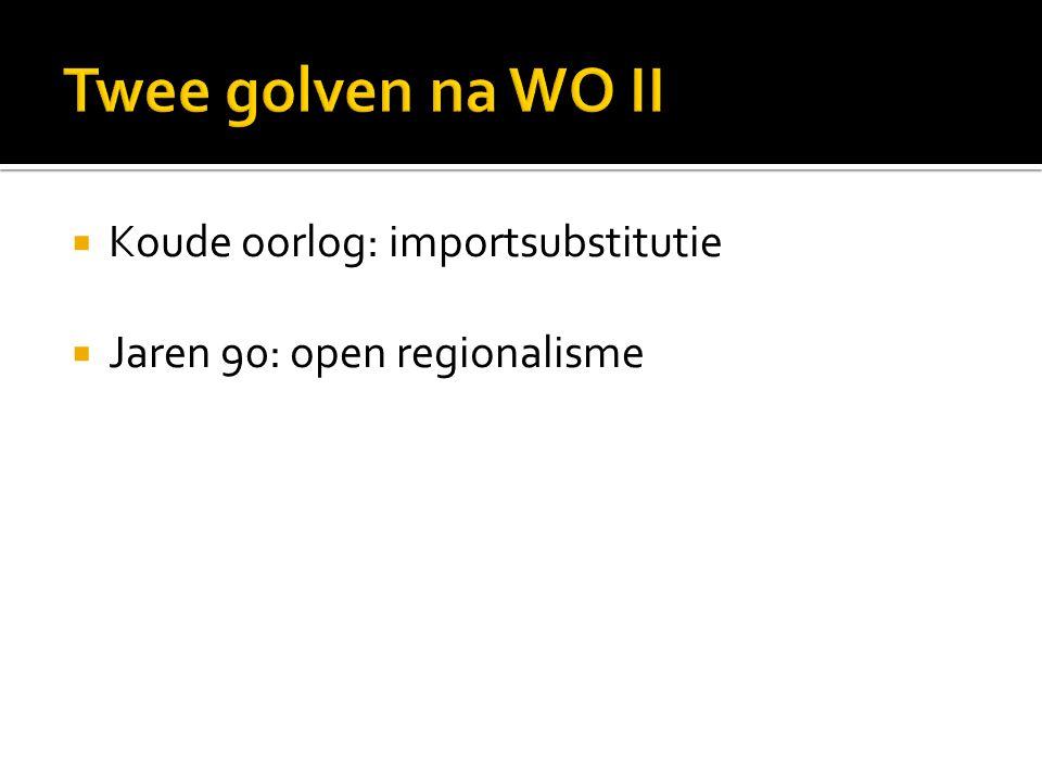  Koude oorlog: importsubstitutie  Jaren 90: open regionalisme