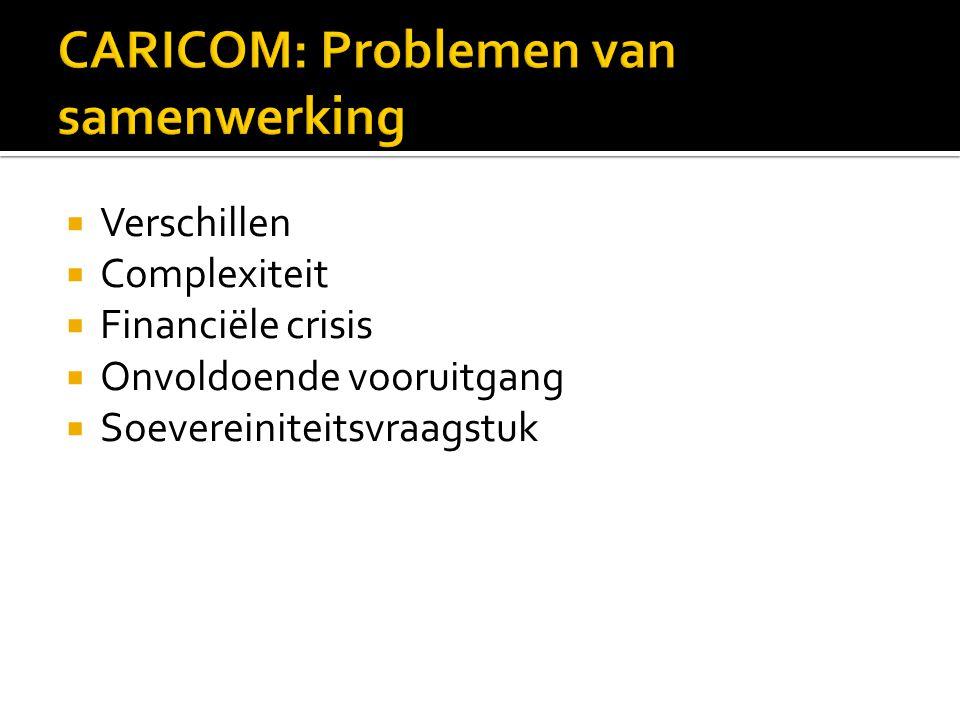  Verschillen  Complexiteit  Financiële crisis  Onvoldoende vooruitgang  Soevereiniteitsvraagstuk