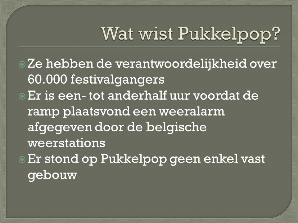 Ze hebben de verantwoordelijkheid over 60.000 festivalgangers  Er is een- tot anderhalf uur voordat de ramp plaatsvond een weeralarm afgegeven door de belgische weerstations  Er stond op Pukkelpop geen enkel vast gebouw