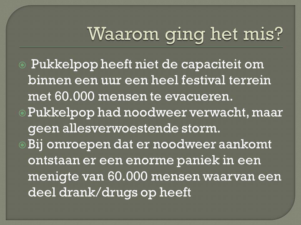  Pukkelpop heeft niet de capaciteit om binnen een uur een heel festival terrein met 60.000 mensen te evacueren.