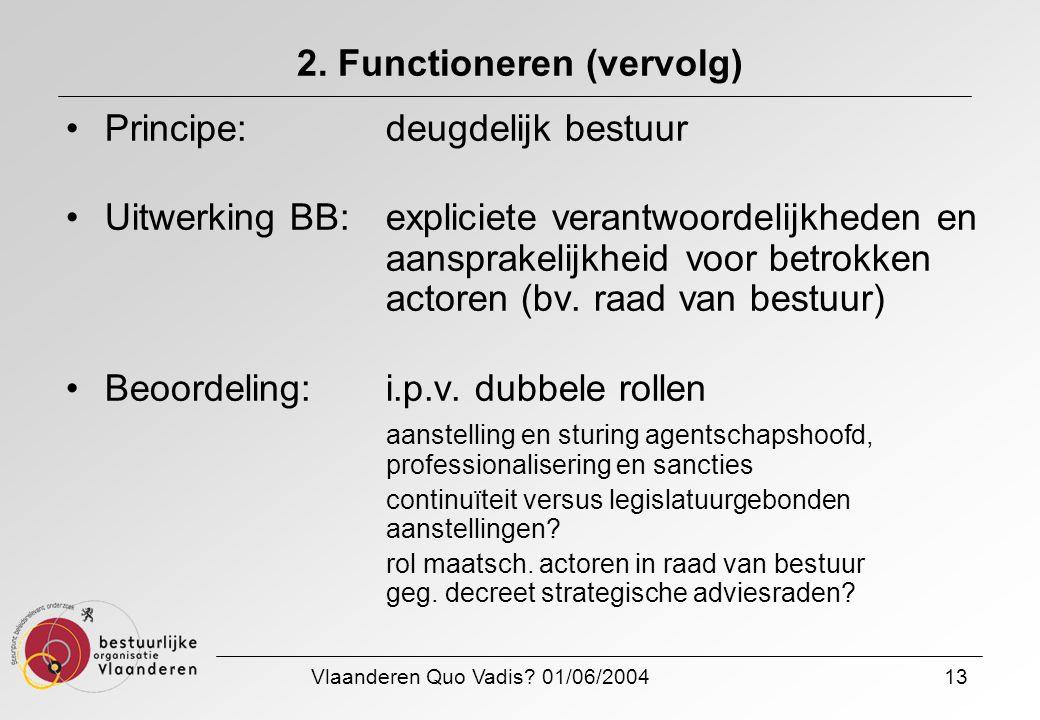 Vlaanderen Quo Vadis? 01/06/200413 2. Functioneren (vervolg) Principe: deugdelijk bestuur Uitwerking BB:expliciete verantwoordelijkheden en aansprakel