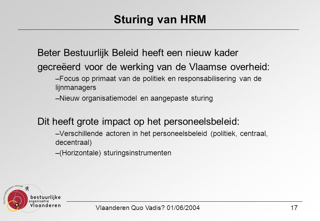 Vlaanderen Quo Vadis? 01/06/200417 Sturing van HRM Beter Bestuurlijk Beleid heeft een nieuw kader gecreëerd voor de werking van de Vlaamse overheid: –