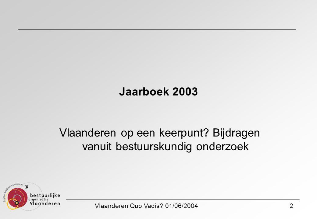 Vlaanderen Quo Vadis? 01/06/20042 Jaarboek 2003 Vlaanderen op een keerpunt? Bijdragen vanuit bestuurskundig onderzoek