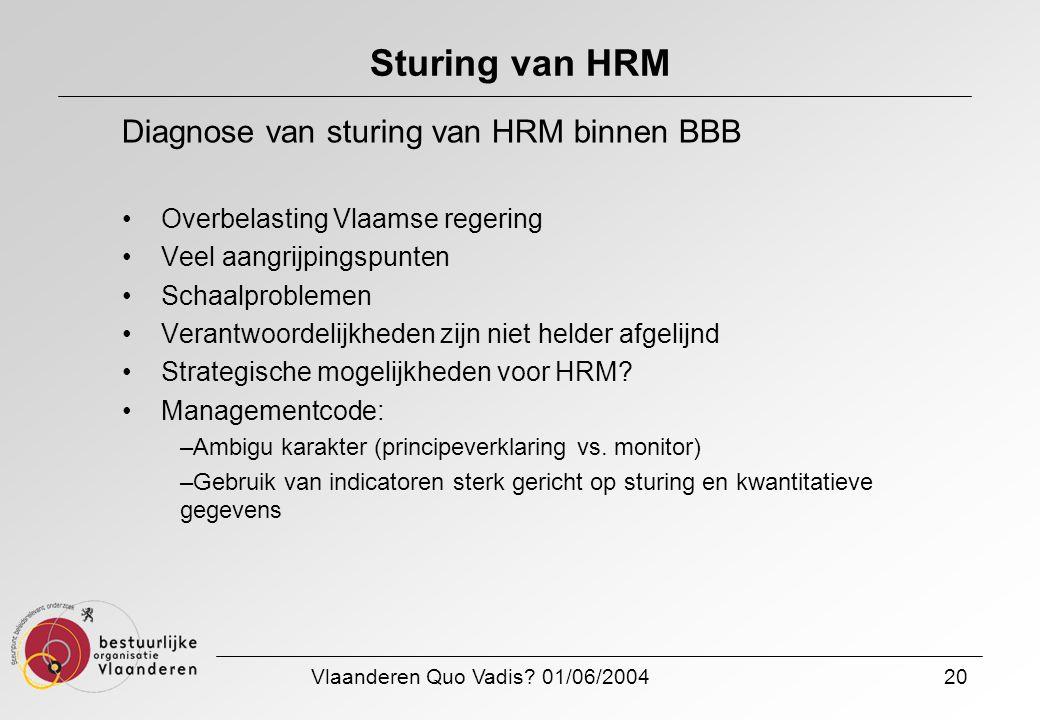 Vlaanderen Quo Vadis? 01/06/200420 Sturing van HRM Diagnose van sturing van HRM binnen BBB Overbelasting Vlaamse regering Veel aangrijpingspunten Scha