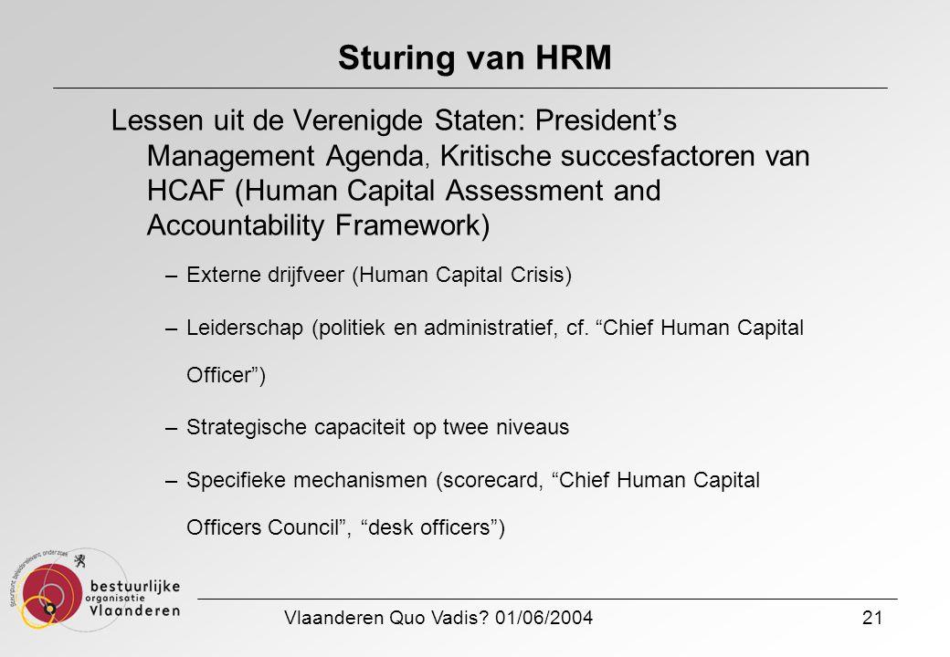 Vlaanderen Quo Vadis? 01/06/200421 Sturing van HRM Lessen uit de Verenigde Staten: President's Management Agenda, Kritische succesfactoren van HCAF (H