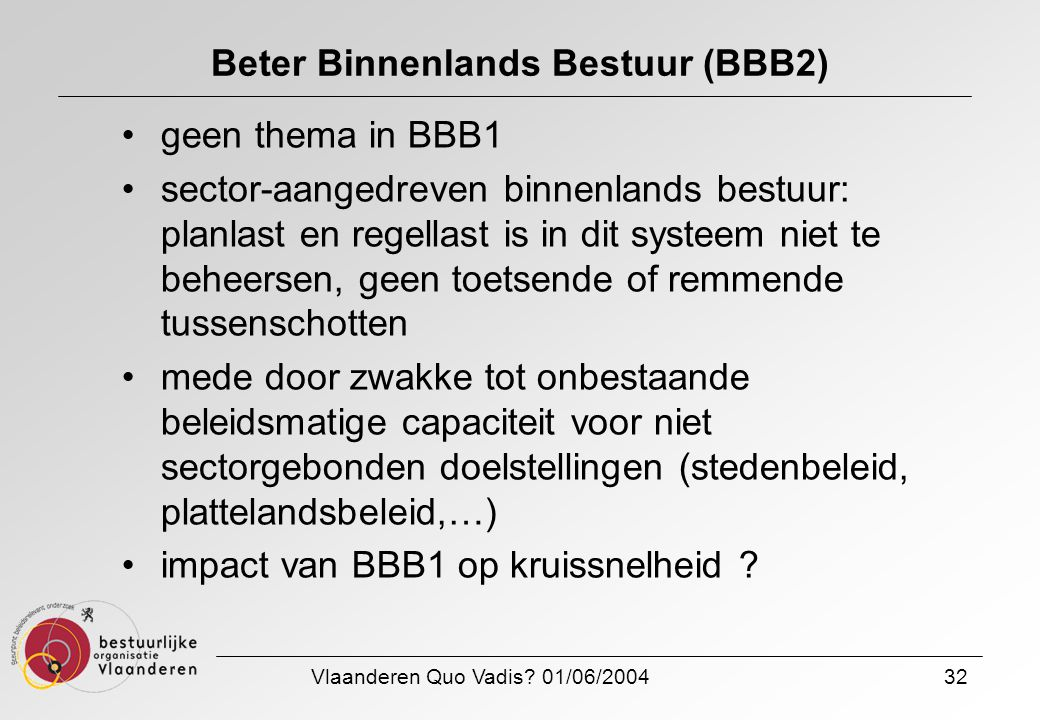 Vlaanderen Quo Vadis? 01/06/200432 Beter Binnenlands Bestuur (BBB2) geen thema in BBB1 sector-aangedreven binnenlands bestuur: planlast en regellast i