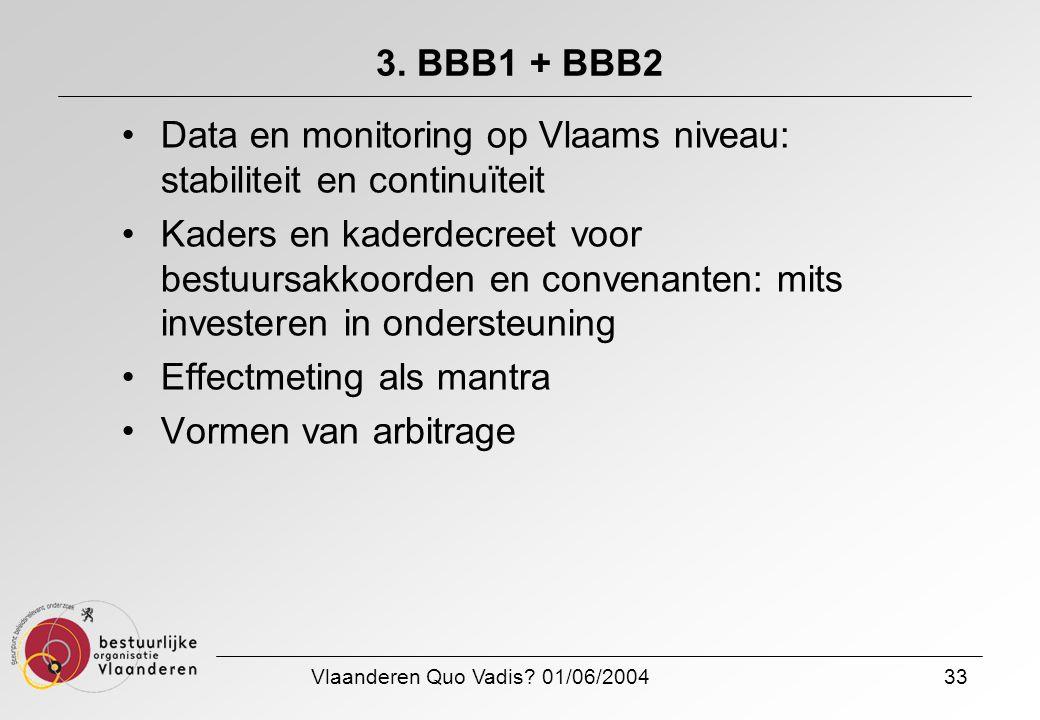 Vlaanderen Quo Vadis? 01/06/200433 3. BBB1 + BBB2 Data en monitoring op Vlaams niveau: stabiliteit en continuïteit Kaders en kaderdecreet voor bestuur