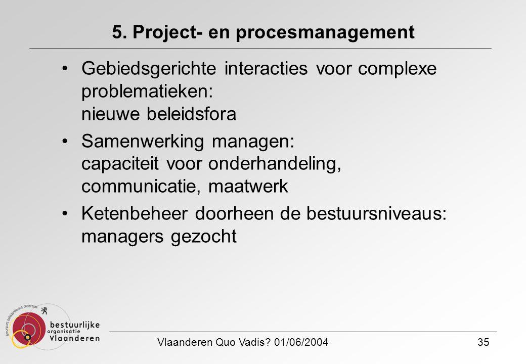 Vlaanderen Quo Vadis? 01/06/200435 5. Project- en procesmanagement Gebiedsgerichte interacties voor complexe problematieken: nieuwe beleidsfora Samenw