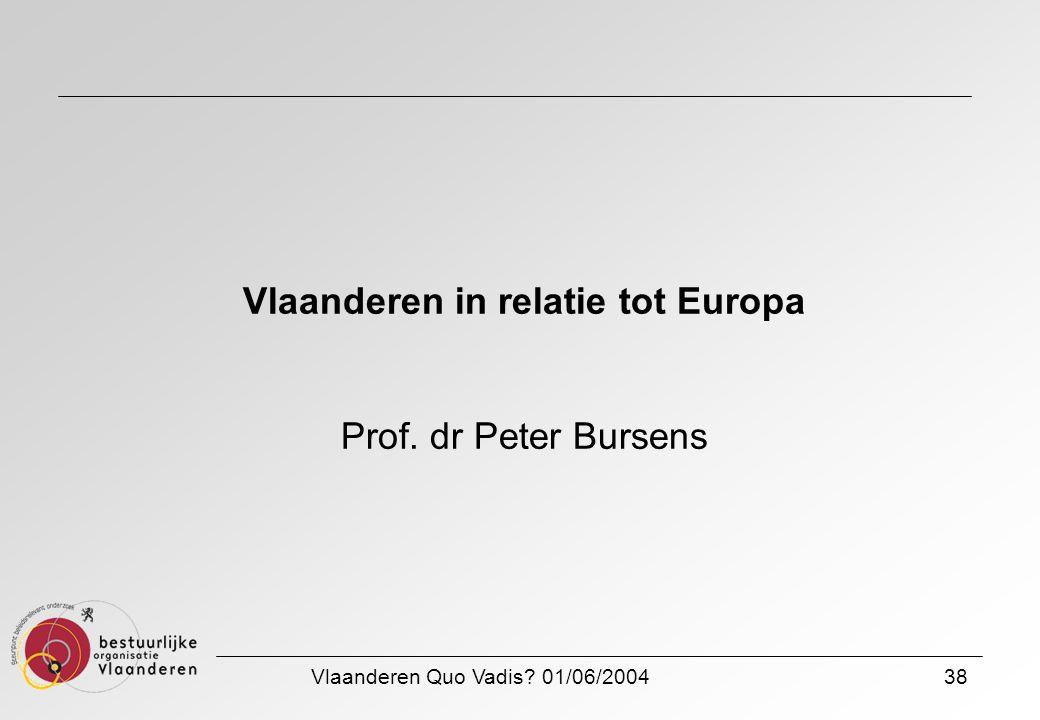 Vlaanderen Quo Vadis? 01/06/200438 Vlaanderen in relatie tot Europa Prof. dr Peter Bursens