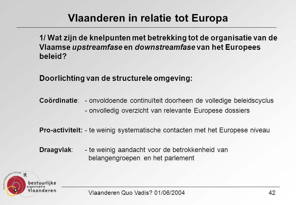 Vlaanderen Quo Vadis? 01/06/200442 Vlaanderen in relatie tot Europa 1/ Wat zijn de knelpunten met betrekking tot de organisatie van de Vlaamse upstrea