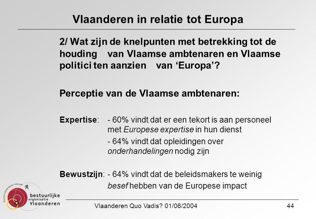 Vlaanderen Quo Vadis? 01/06/200444 Vlaanderen in relatie tot Europa 2/ Wat zijn de knelpunten met betrekking tot de houding van Vlaamse ambtenaren en