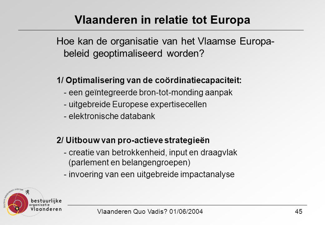 Vlaanderen Quo Vadis? 01/06/200445 Vlaanderen in relatie tot Europa Hoe kan de organisatie van het Vlaamse Europa- beleid geoptimaliseerd worden? 1/ O