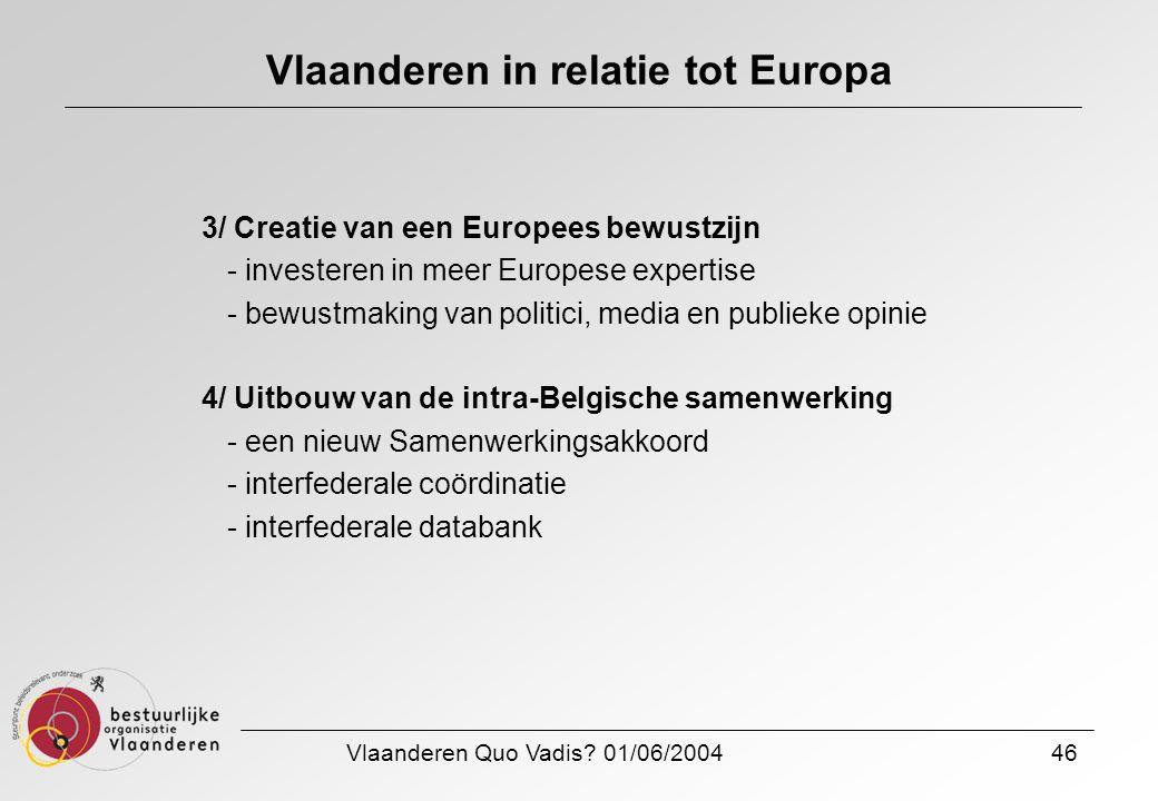 Vlaanderen Quo Vadis? 01/06/200446 Vlaanderen in relatie tot Europa 3/ Creatie van een Europees bewustzijn - investeren in meer Europese expertise - b