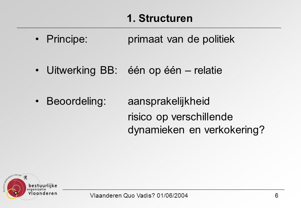 Vlaanderen Quo Vadis? 01/06/20046 1. Structuren Principe: primaat van de politiek Uitwerking BB: één op één – relatie Beoordeling: aansprakelijkheid r