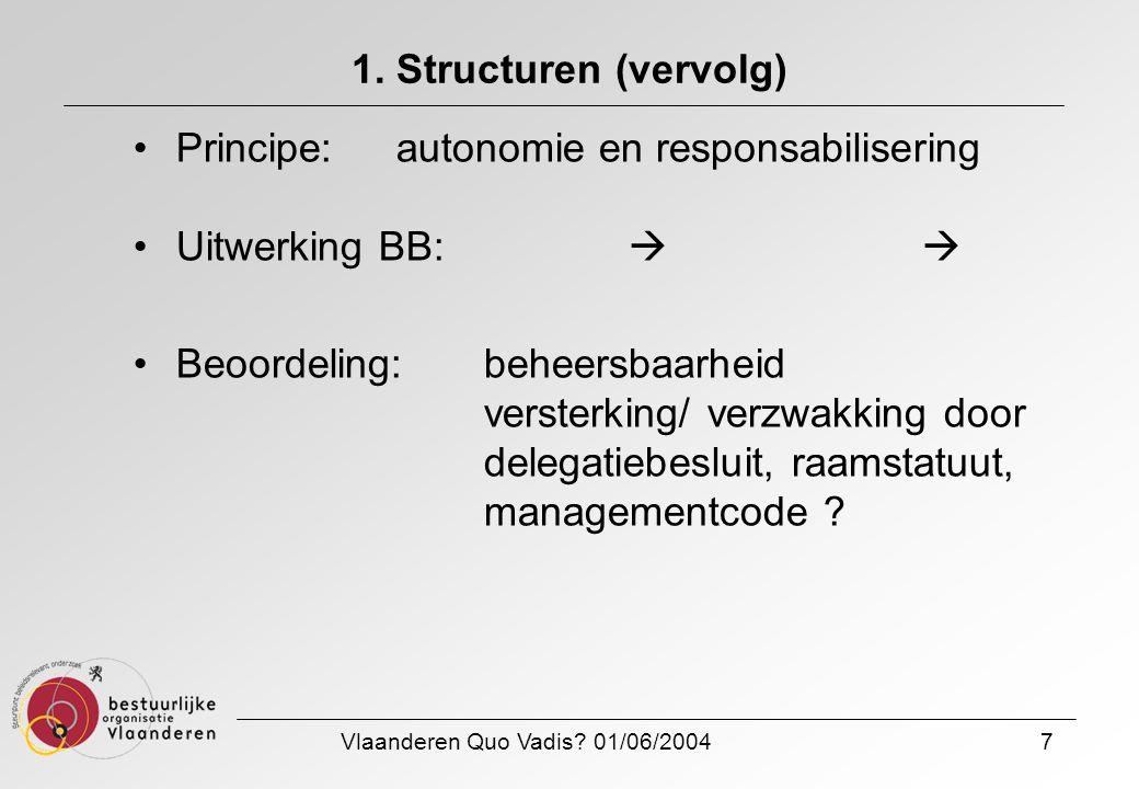 Vlaanderen Quo Vadis? 01/06/20047 1. Structuren (vervolg) Principe: autonomie en responsabilisering Uitwerking BB:  Beoordeling: beheersbaarheid ver
