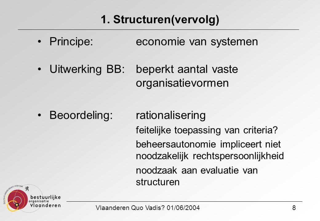 Vlaanderen Quo Vadis? 01/06/20048 1. Structuren(vervolg) Principe: economie van systemen Uitwerking BB:beperkt aantal vaste organisatievormen Beoordel