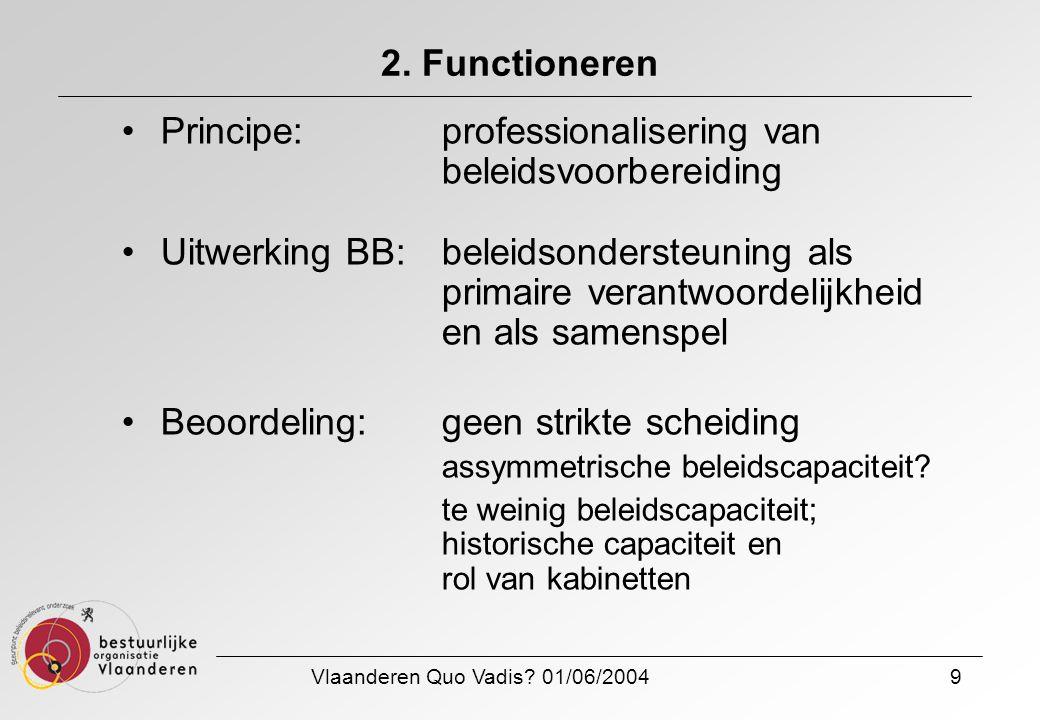 Vlaanderen Quo Vadis? 01/06/20049 2. Functioneren Principe: professionalisering van beleidsvoorbereiding Uitwerking BB:beleidsondersteuning als primai