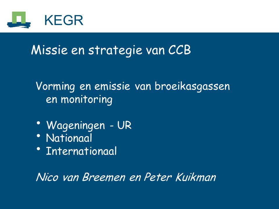 Missie en strategie van CCB Vorming en emissie van broeikasgassen en monitoring Wageningen - UR Nationaal Internationaal Nico van Breemen en Peter Kuikman KEGR