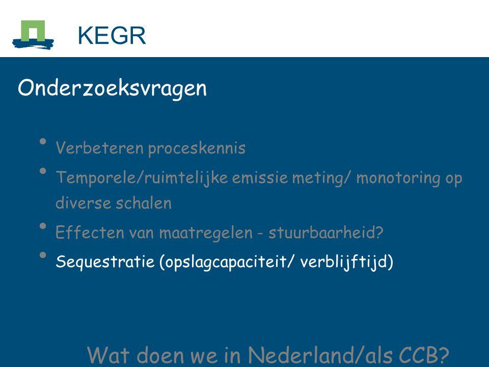 Onderzoeksvragen Verbeteren proceskennis Temporele/ruimtelijke emissie meting/ monotoring op diverse schalen Effecten van maatregelen - stuurbaarheid.