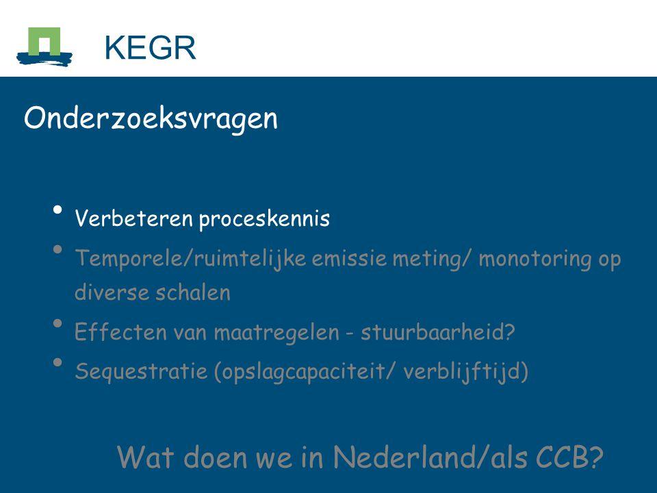 Onderzoeksvragen Verbeteren proceskennis Temporele/ruimtelijke emissie meting/ monotoring op diverse schalen Effecten van maatregelen - stuurbaarheid?