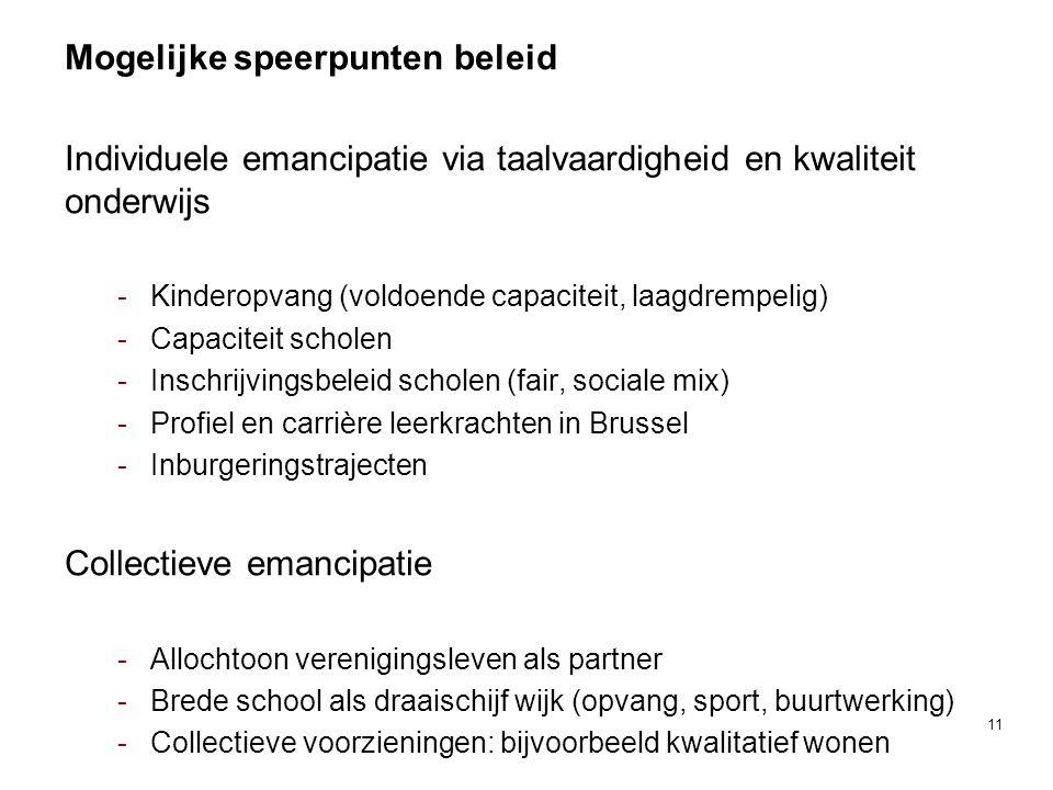 Mogelijke speerpunten beleid Individuele emancipatie via taalvaardigheid en kwaliteit onderwijs -Kinderopvang (voldoende capaciteit, laagdrempelig) -Capaciteit scholen -Inschrijvingsbeleid scholen (fair, sociale mix) -Profiel en carrière leerkrachten in Brussel -Inburgeringstrajecten Collectieve emancipatie -Allochtoon verenigingsleven als partner -Brede school als draaischijf wijk (opvang, sport, buurtwerking) -Collectieve voorzieningen: bijvoorbeeld kwalitatief wonen 11