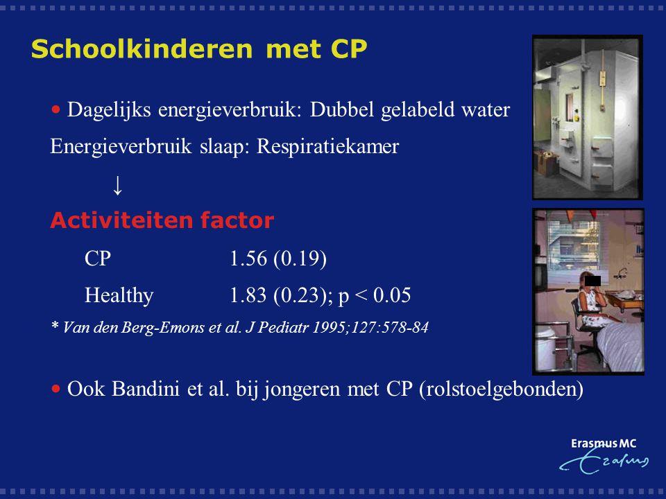 Schoolkinderen met CP  Dagelijks energieverbruik: Dubbel gelabeld water  Energieverbruik slaap: Respiratiekamer  ↓  Activiteiten factor  CP1.56 (