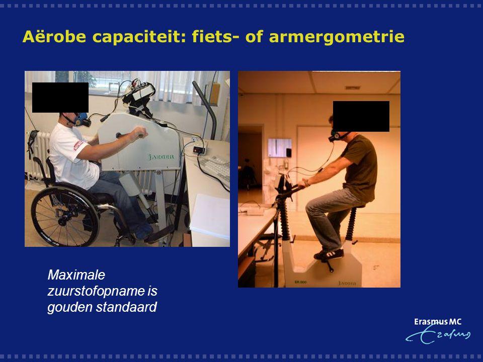 Aërobe capaciteit: fiets- of armergometrie Maximale zuurstofopname is gouden standaard