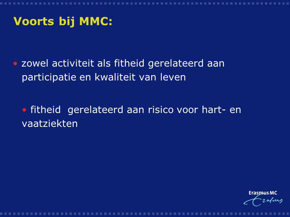 Voorts bij MMC: zowel activiteit als fitheid gerelateerd aan participatie en kwaliteit van leven  fitheid gerelateerd aan risico voor hart- en vaatzi