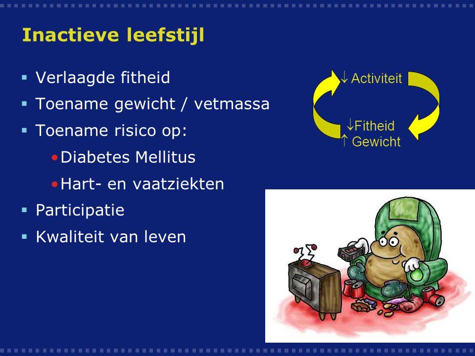 Nederlandse Norm Gezond Bewegen (NNGB) Kinderen  7 dagen per week, minimaal 1 uur per dag, matig intensief lichamelijk actief moeten zijn.