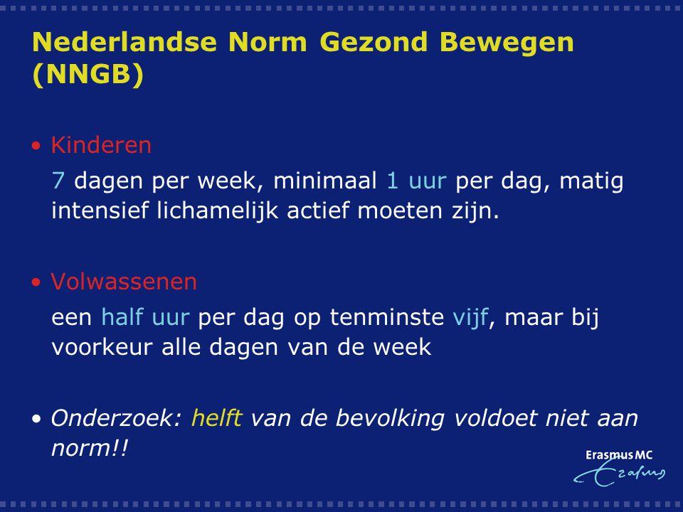Nederlandse Norm Gezond Bewegen (NNGB) Kinderen  7 dagen per week, minimaal 1 uur per dag, matig intensief lichamelijk actief moeten zijn.  Volwasse