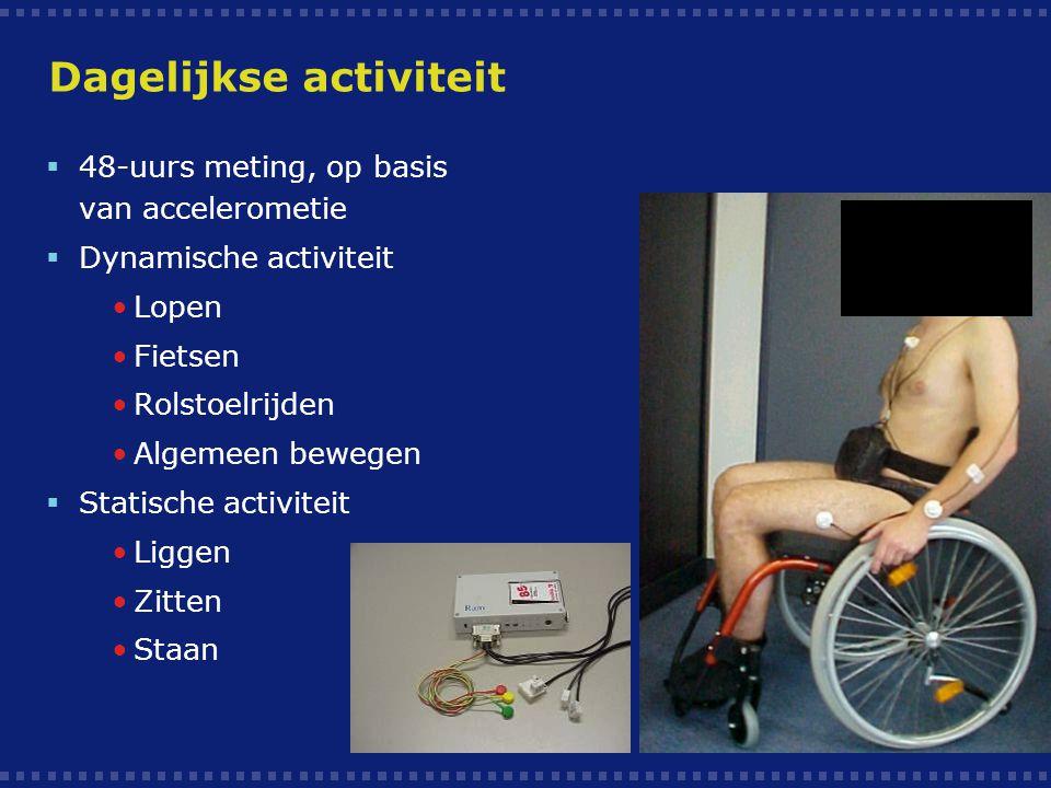 Dagelijkse activiteit  48-uurs meting, op basis van accelerometie  Dynamische activiteit Lopen Fietsen Rolstoelrijden Algemeen bewegen  Statische a
