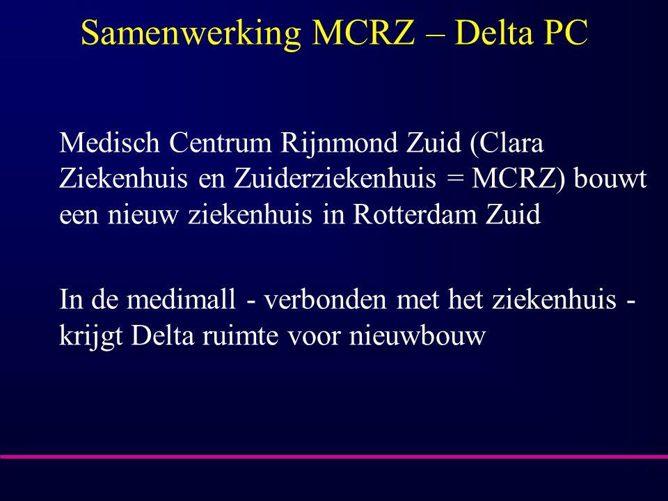 Samenwerking MCRZ – Delta PC Medisch Centrum Rijnmond Zuid (Clara Ziekenhuis en Zuiderziekenhuis = MCRZ) bouwt een nieuw ziekenhuis in Rotterdam Zuid In de medimall - verbonden met het ziekenhuis - krijgt Delta ruimte voor nieuwbouw
