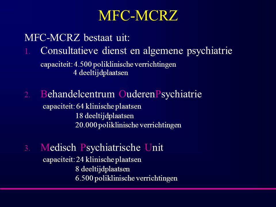 MFC-MCRZ MFC-MCRZ bestaat uit: 1. Consultatieve dienst en algemene psychiatrie capaciteit: 4.500 poliklinische verrichtingen 4 deeltijdplaatsen 2. Beh