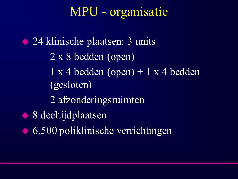 MPU - organisatie u 24 klinische plaatsen: 3 units 2 x 8 bedden (open) 1 x 4 bedden (open) + 1 x 4 bedden (gesloten) 2 afzonderingsruimten u 8 deeltij