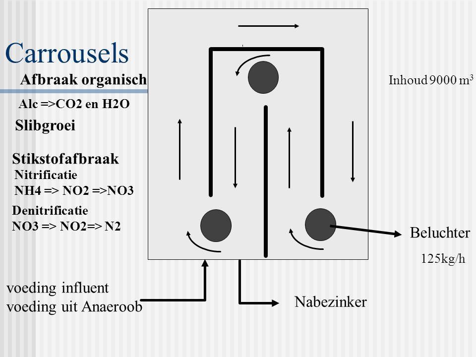 Carrousels Nitrificatie NH4 => NO2 =>NO3 Denitrificatie NO3 => NO2=> N2 Alc =>CO2 en H2O Slibgroei Beluchter voeding influent voeding uit Anaeroob Nabezinker 125kg/h Inhoud 9000 m 3 Afbraak organisch Stikstofafbraak