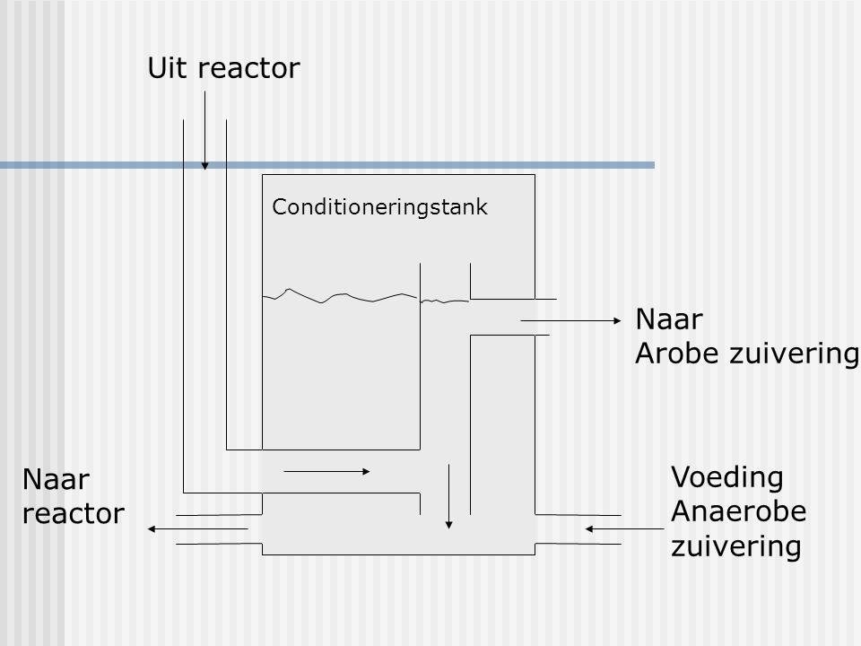 Uit reactor Naar reactor Naar Arobe zuivering Voeding Anaerobe zuivering Conditioneringstank