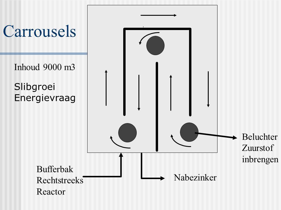 ZUIVERING met zuurstof (aeroob) CARROUSEL NABEZINK- TANK EFFLUENT SLIBRETOUR ZEEFBANDPERS