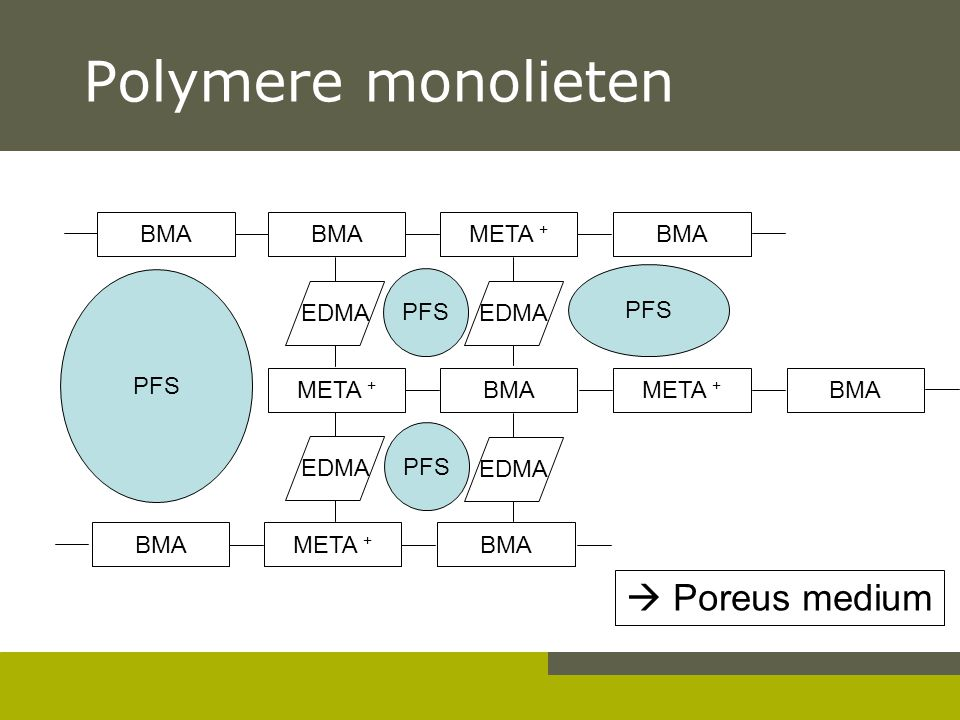 Polymere monolieten BMA META + BMA META + BMAMETA + BMA EDMA PFS EDMA BMAMETA + BMA PFS EDMA  Poreus medium