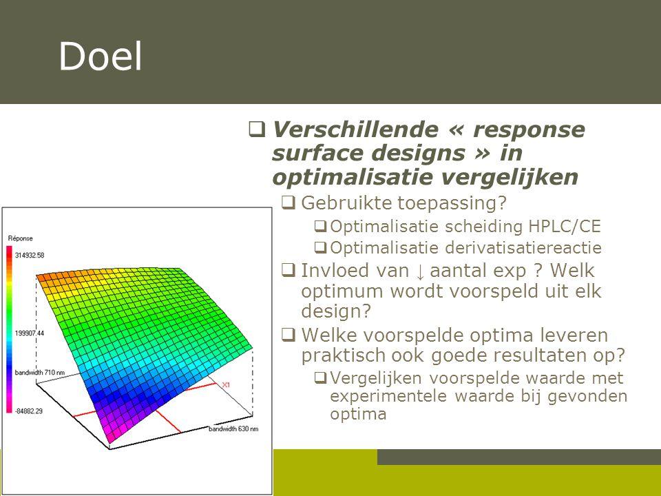 Doel  Verschillende « response surface designs » in optimalisatie vergelijken  Gebruikte toepassing?  Optimalisatie scheiding HPLC/CE  Optimalisat